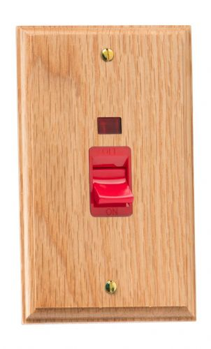 Varilight XK45NOB Kilnwood Oak 45A DP Cooker Switch Vertical Twin Plate + Neon
